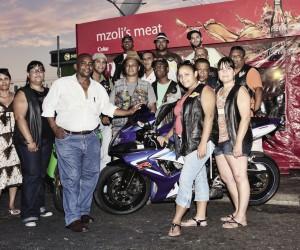 Ngcawuzele entertains bikers at Mzoli's